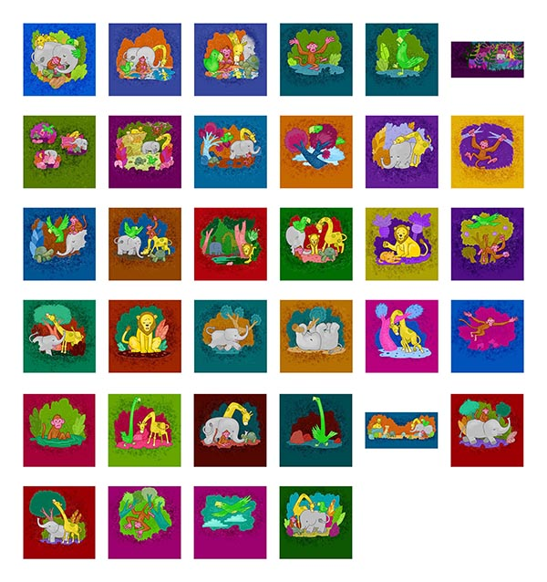 Contact sheet of illustrations in Apollo and His Friends in Colorland