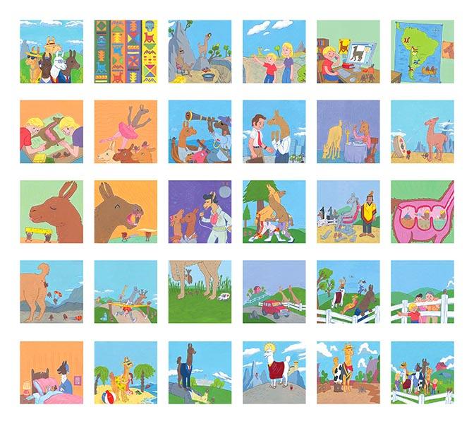 Contact sheet of illustrations from Llamas of Shangrillama